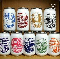 Straw Hat Crew, Mugiwara, Luffy, Sanji, Zoro, Chopper, Usopp, Brook, Franky, Nami, Robin, cans, cool, text, One Piece; Anime Stuff I Want