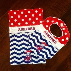 Ole Miss Colonel Rebel personalized  bib and burp cloth set for the little Rebel