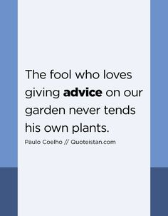 The fool who loves giving advice on our garden never tends his own plants. Advice Quotes, Life Quotes, Jim Valvano, Dont Look Back, Mother Teresa, Albert Einstein, The Fool, Giving, Confessions