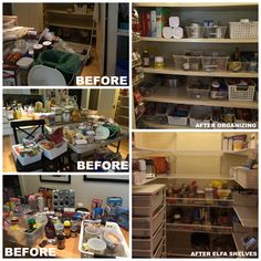 This pantry was chock full of stuff. With deep shelves items were lost or forgotten. First we purged, then we sorted and organized and eventually installed Elfa shelving. It made the space more functional and accessible.