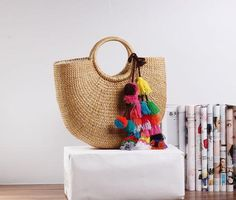 Summer Straw Beach Tote Bag  Women's Fashion
