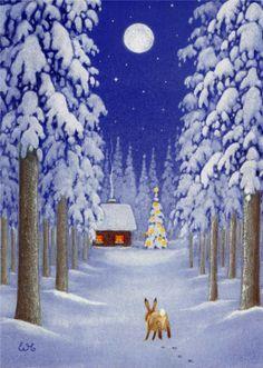 Eva Melhuish - Freelance Illustrator - Artwork for sale - Forest Hare Winter Illustration, Christmas Illustration, Illustration Art, Christmas Scenes, Christmas Art, Vintage Christmas, Winter Pictures, Christmas Pictures, Rabbit Art