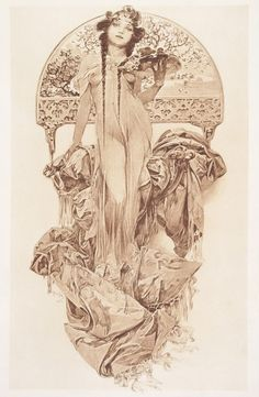 Woman Holding a Tray of Flowers, ca 1903, Alphonse Mucha.