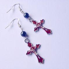 Swarovski boucle d'oreille croix