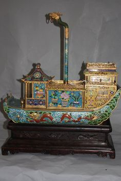 Chinese Cloisonne Boat with Stand.