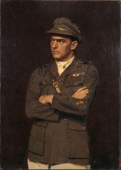 Portrait of Lieutenant Percy Valentine Storkey, VC. Portrait on permanent loan to Australian War Memorial. Australian Painters, Australian Artists, Military Art, Military History, World War One, First World, Ww2 Posters, Portrait Art, Portrait Paintings