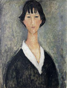 Tela 'Jeune Fille aux Cheveux Noirs' (1919), de Amedeo Modigliani
