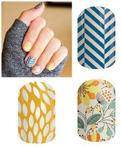Slatted Herringbone, Sunny Lotus, and Sweet Whimsy Jamberry nail wraps!