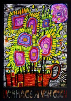 Hundertwasser reimagines Van Goughs vase of sunflowers