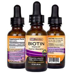 SBR Nutrition Biotin Liquid Drops, per Serving Vanilla Vitamin A, Vitamin B Complex, Biotin, Fatty Acid Metabolism, Diy Beard Oil, Liquid Vitamins, Mct Oil, Vegan Friendly, Healthy Hair