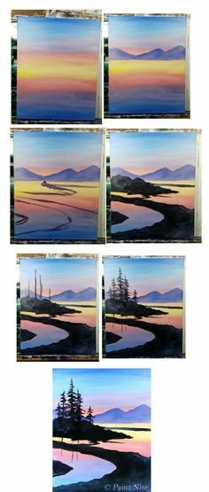 40 Easy Step by Step Painting Examples for Beginners easy-step-by. - hairdesign - 40 Easy Step by Step Painting Examples for Beginners easy-step-by-step-painting-exam - Painting Courses, Step By Step Painting, Watercolour Step By Step, Beginner Painting, Beginner Art, Painting Techniques, Watercolor Art, Watercolor Tutorials, Watercolor Sunset
