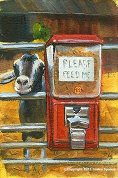 Original painting of a begging goat by Lesley Spanos   SpanosStudio - Painting on ArtFire