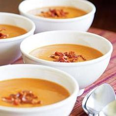 A velvety butternut squash soup with bacon and apple embodies all the flavors of Fall. Recipe from Fine Cooking, found at www.edamam.com