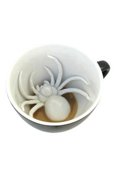 He's creepy and he's got hairy legs, but this little guy really just wants to be friends and lurk in your mug... and perhaps scare the bejeezus out of you. Is that too much to ask? - Black outer with