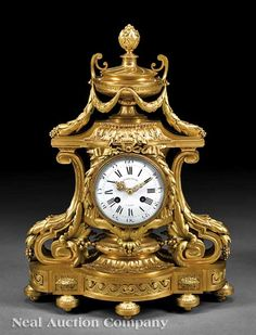 Napoleon III Bronze Doré Mantel Clock in the Louis XVI Taste, 19th c.
