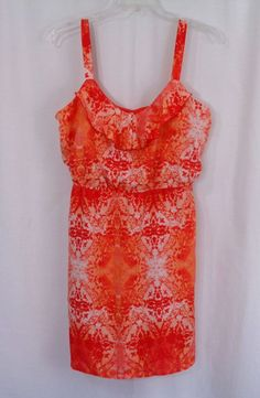 Womens STUDIO Y Coral Orange Pink Red Batik Ruffled Empire Waist Dress SZ XXL #StudioY #EmpireWaist #Casual
