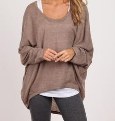 Brown & Gray. For this look use Lisette L Style #801 in charcoal. fall style | fall fashion | gray leggings | brown sweater | white tank | cute & comfy style - Dottie Fashion Websites