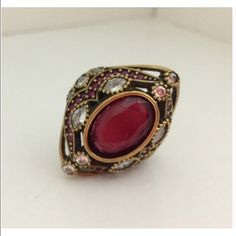 """New 925 Sterling Silver Ruby Topaz Ring Size 7.5 Beautiful elegant 925 Sterling Silver and bronze, Ruby Topaz Ring 12.08 Grams, Head size is 13/16"""", Ring Size is 7.5.Go up on my page and click on my website it's under my name you will have free shipping there on etsy. Turkish style Jewelry Rings"""