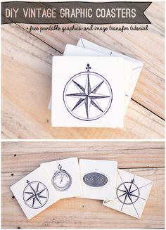 How to Make Vintage Graphic Coasters Image Transfer Tutorial and Free Vintage Graphcis from @savedbyloves