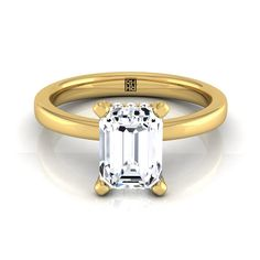 Emerald Cut Diamond Solitaire With Pave Basket Setting In 14k Yellow Gold