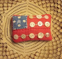 Primitive Country Tiny Americana Patriotic Flag Button Pillow From Vintage Quilt.