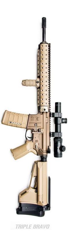 "Posted on Rainier Arms, photo and build by Triple Bravo. The ""Doo Doo Brown"" build. FDE BAD selector, an FDE Tactical Link Battery Assist Lever, a Battleline SAPR, the Vortex Optics Viper PST 1-4x24 in mounts from Seekins Precision, and a BattleComp 1.0."