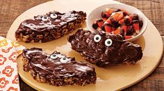Fun Halloween dessert treats cannot get easier than these bat shaped, chocolate coated cereal bars made of Cheerios® and marshmallows.