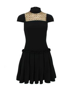 Black Short Sleeve Embroidered Drop Waist Dress