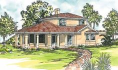 Lauderdale 11-037. This two story home plan features a wide covered porch that wraps around three sides of the great room.