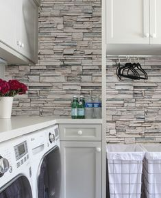 Get the look of stacked stone, cultured stone, veneer stone and real stone using our Faux Stone wallpaper. This repositionable wallpaper is designed and made Look Wallpaper, Stone Wallpaper, Fabric Wallpaper, Kitchen Wallpaper, Wallpaper Size, Wallpaper Ideas, Home Renovation, Home Remodeling, Laundry Room Design