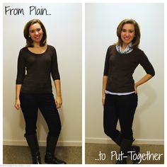 From Plain to Put Together Brown Sweater Blue Oxford Statement Necklace Skinny Jeans Boots  style outfits