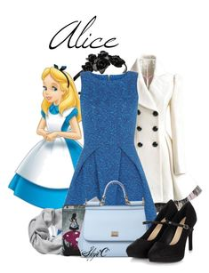 """Alice - Fall - Disney's Alice in Wonderland"" by rubytyra ❤ liked on Polyvore featuring L. Erickson, Disney, Closet, Banana Republic, Dolce&Gabbana, Fall, disney, aliceinwonderland, disneybound and fall2015"