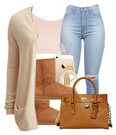 4/5/15 by trillxassxbitch ❤ liked on Polyvore featuring Topshop, UGG Australia, Michael Kors, AERIN, VILA and MICHAEL Michael Kors