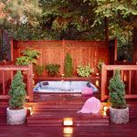 Privacy Solutions for Your Deck Find deck design ideas for adding privacy--fences, walls, or trees and shrubs. Really wanting a backyard oasis! Hot Tub Privacy, Outdoor Retreat, Outdoor Spaces, Outdoor Living, Outdoor Tub, Outdoor Ideas, Backyard Patio, Backyard Landscaping, Decks