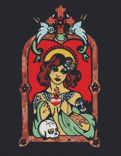 Modern Cross Stitch Kit 'Patron Saint Of  The Tattooed' By Illustrated Ink