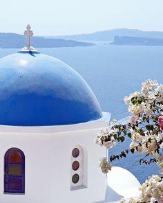 Blue Dome Church Santorini Photograph Greek by VitaNostra. $30.00, via Etsy.