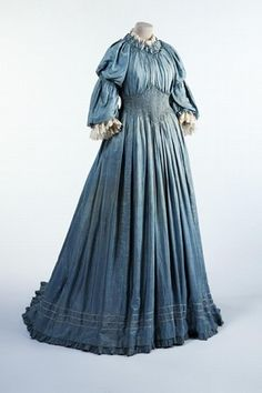 Aesthetic Movement Silk dress with smocking, Liberty  Co., about 1893-94, Victoria  Albert Museum.
