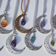 Crescent Moon Wire Wrap Crystal Necklace Pastel Goth Grunge Boho Wicca Pagan Goddess Lunar Eclipse Amethyst Citrine Moldavite by CrystallineAlchemy on Etsy https://www.etsy.com/listing/213148074/crescent-moon-wire-wrap-crystal-necklace