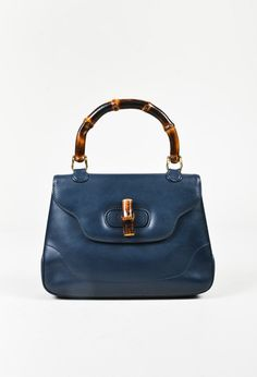 c6de982af16072 VINTAGE Gucci Blue Leather Bamboo Handle Satchel Bag. Vintage GucciVintage  PursesLuxury ...