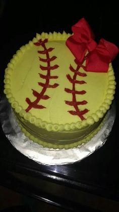 cake with bow - softball - Exercícios Aeróbicos Softball Cupcakes, Softball Treats, Softball Birthday Parties, Softball Party, Softball Gifts, Girls Softball, Softball Stuff, Softball Cookies, Softball Things