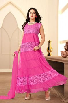 Pink Color Readymade Suits (Size - XL - 42) : Navratri Collection YF-20098