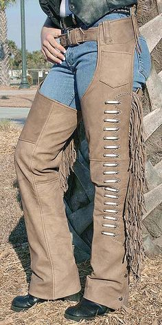 Brown Leather Chaps with Fringe and Bone Beading
