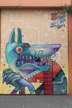 ARYZ artista español con la ayuda de Saner, si dejó un pequeño mural en la Ciudad de México.