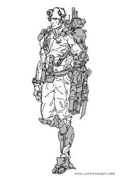 Jon McCoy Art - Concept Art for Films and Games Character Costumes, Character Art, Character Design, Character Ideas, Cyberpunk 2020, Cyberpunk Art, Personal Armor, Armor Clothing, Weapon Concept Art