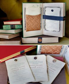 old books for wedding invitation - books are love themed