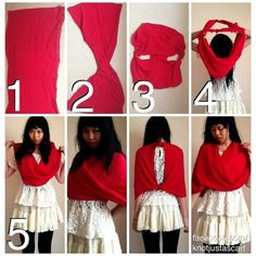 Twist Poncho: First, use a long rectangular scarf or fold a square scarf in half. Twist the scarf so that one bottom end goes to the top and its corresponding top end now goes to the bottom, like you're making a Mobius strip. Which you are, btw. Tie the ends together and then slip over your head and adjust on your shoulders.
