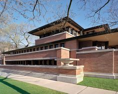 Robie house - Frank Lyod Wright. The bricks that were used in the construction of this house were much slimmer than the typical brick. This choice in material created an emphasis on the horizontality of the house.