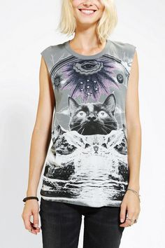 Dirty Hollywood Cosmic Mountain Cat Muscle Tee #urbanoutfitters