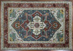 Unique 10'x14' Blue Green Red HERIZ SERAPI Hand Knotted Wool Area Rug H8750 | eBay