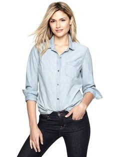 No Spring Wardrobe Is Complete Without These 11 New Essentials: For the stylish answer to a lightweight cover-up or a cool-girl version of the button-down, the chambray shirt, like this Gap chambray boyfriend shirt ($50), is a go-to in our Spring closets.